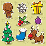 First set of Christmas icons. Stock Photos