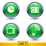 First set of four realistic icons with green color. Illustration of first set of four realistic icons with green color and shadows such as clock, radio, tv Stock Image