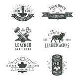 First set of grey vector vintage craft logo Stock Photos