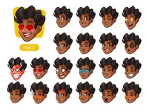 The first set of male facial emotions with curly hair. The first set of male facial emotions cartoon character design with curly hair and different expressions Stock Photos