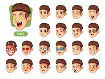 The first set of male facial emotions with red hair. The first set of male facial emotions cartoon character design with red hair and different expressions Stock Photography