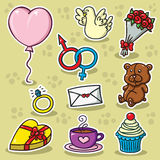 First set of Valentine's icons. Collection of cute vector Valentine's icons Royalty Free Stock Image