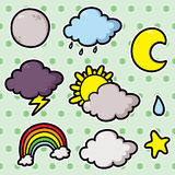 First set of weather icons. Collection of cute cartoon vector weather icons Royalty Free Stock Images
