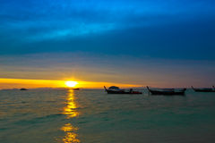 The first shine on the day at Lipe island,Thailand Stock Photography