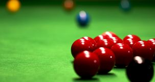 Snooker game. First shot of the snooker game stock video footage