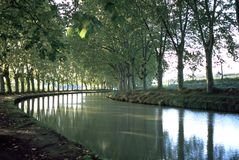 Scenic France, Canal du Midi. First signs of autumn on the tree lined canal Canal du Midi at Capestang, Herault, France stock photos