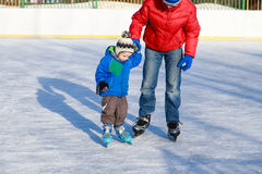 First skating lesson Royalty Free Stock Photos