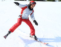 First skiing of tropical girl Royalty Free Stock Images