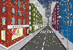 First snow. On some of the streets of New York - vector illustration Royalty Free Stock Photography