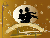 The first snow. Vector illustration,   couple  on the bench Stock Images