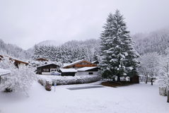 First snow in Argentiere Stock Photo