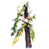 First snow. Autumn tree with leaves in snow, hand drawn illustration Royalty Free Stock Images