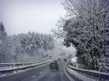 First snow on Bavarian highways, Germany Royalty Free Stock Image