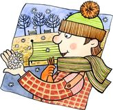 First snow. Cartoon man looking at big snowflake on his hand. Watercolor and ink illustration Stock Photos