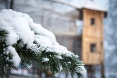 First snow at children park Royalty Free Stock Images