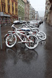 First snow in the city Royalty Free Stock Photos
