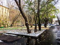 The first snow in the city royalty free stock photography