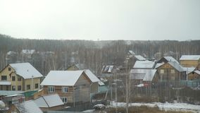 First snow in the countryside. First snow in late autumn in the Siberian countryside stock video