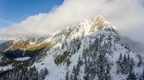 First snow covering mountain top. Karavanke ridge, Slovenia Stock Image