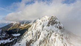 First snow covering mountain top. Royalty Free Stock Photography