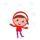 First snow: cute winter Child holding Snowflake. Little Child in winter costume isolated on white. Vector Illustration Stock Images