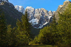 First snow in the Dolomites Royalty Free Stock Images