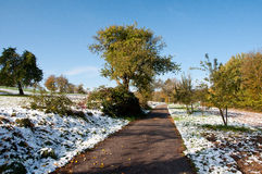 First snow in early winter Royalty Free Stock Images