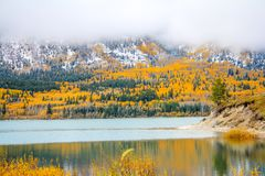 First snow and fall colours on Sibbald Pond. Kananaskis Country, Alberta, Canada Stock Photo