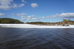 First snow. The first snow fell on the river Stock Photography