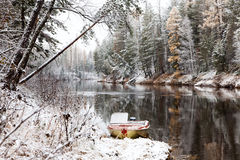 First snow on the forest river Stock Photos
