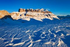 First snow. Gorgeous sunny view of Dolomite Alps first snow. Colorful winter scene of Monte Pelmo mountain range. Giau pass royalty free stock image