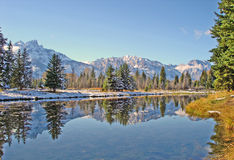 First snow in Grand Teton Stock Photo