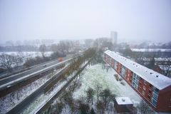 The first snow in Groningen Royalty Free Stock Images