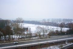 The first snow in Groningen the Netherlands Stock Photography