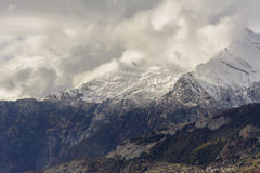 First snow on Haut de Cry. The Haut de Cry is a mountain of the Bernese Alps, overlooking the Rhone Valley in the canton of Valais. It is composed of several Royalty Free Stock Photography