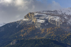 First snow on Haut de Cry. The Haut de Cry is a mountain of the Bernese Alps, overlooking the Rhone Valley in the canton of Valais. It is composed of several Stock Photo