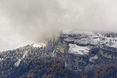 First snow on Haut de Cry. The Haut de Cry is a mountain of the Bernese Alps, overlooking the Rhone Valley in the canton of Valais. It is composed of several Royalty Free Stock Photos
