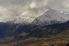 First snow on Haut de Cry. The Haut de Cry is a mountain of the Bernese Alps, overlooking the Rhone Valley in the canton of Valais. It is composed of several Royalty Free Stock Images