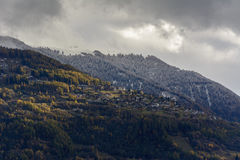 First snow on Haut de Cry. The Haut de Cry is a mountain of the Bernese Alps, overlooking the Rhone Valley in the canton of Valais. It is composed of several Stock Image