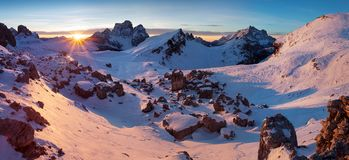 Free First Snow In Alps. Fantastic Sunrise In The Dolomites Mountains, South Tyrol, Italy In Winter. Italian Alpine Panorama Dolomites. Stock Image - 141353781