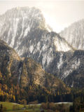 First snow in Landquart mountains in Switzerland. First snow comes in Lanquart mountains,in Switzerland,with the last saturated colors of autumn on the trees Royalty Free Stock Photos
