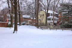 First snow in McLean Virginia. Houses of McLean in the winter Royalty Free Stock Photography