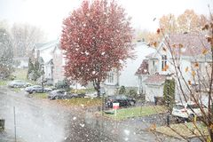 First snow in Montreal Canada royalty free stock photos