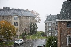First snow in Montreal Canada royalty free stock image