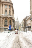 First Snow Over Downtown Bucharest Stock Images
