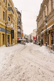 First Snow Over Downtown Bucharest Royalty Free Stock Photography