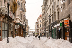 First Snow Over Downtown Bucharest Royalty Free Stock Photos