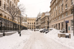 First Snow Over Downtown Bucharest Stock Photos