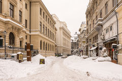 First Snow Over Downtown Bucharest Stock Photography