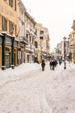First Snow Over Downtown Bucharest Stock Photo